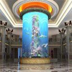 big cylinder acrylic fish tank